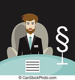 平ら, 椅子, 彼の, 提唱者, 弁護士, vector., モデル, オフィス。