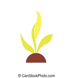 平ら, 植物, 実生植物, アイコン