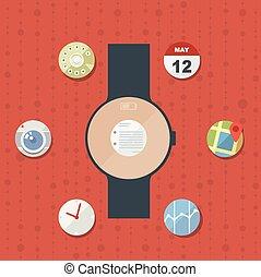 平ら, 概念アイコン, 現代, 腕時計, デザイン, 痛みなさい