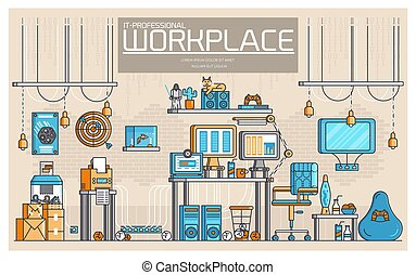 平ら, 概念, アウトライン, オフィスアイコン, geeks, 人々, それ, ベクトル, illustrations., 仕事場, 専門家, 線, デベロッパー, 技術, 薄くなりなさい