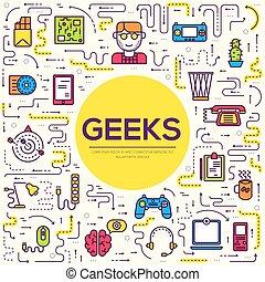 平ら, 概念, アウトライン, オフィスアイコン, geeks, 人々, それ, 薄くなりなさい, ベクトル, デザイン, 仕事場, イラスト, 専門家, 線, デベロッパー, 技術, set., のまわり
