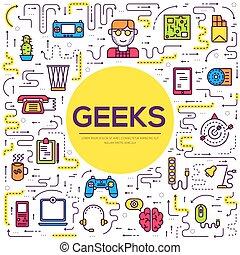 平ら, 概念, アウトライン, オフィスアイコン, geeks, 人々, それ, 薄くなりなさい, ベクトル, 仕事場, イラスト, 専門家, 線, デベロッパー, 技術, set., のまわり