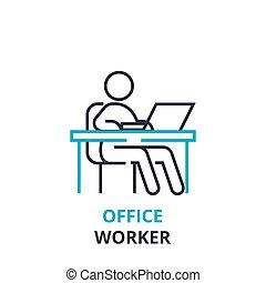 平ら, 概念, アウトライン, オフィス, 印, 労働者, pictogram, , イラスト, ベクトル, 薄くなりなさい, アイコン, 線, 線である