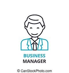 平ら, 概念, アウトライン, ビジネス 印, pictogram, , イラスト, マネージャー, ベクトル, 薄くなりなさい, アイコン, 線, ロゴ, 線である