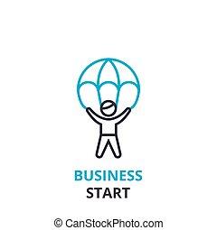 平ら, 概念, アウトライン, ビジネス 印, pictogram, , イラスト, 始めなさい, ベクトル, 薄くなりなさい, アイコン, 線, ロゴ, 線である