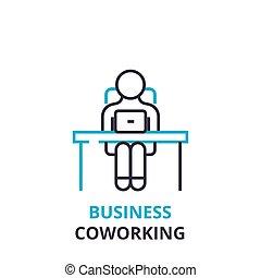 平ら, 概念, アウトライン, ビジネス 印, pictogram, , イラスト, coworking, ベクトル, 薄くなりなさい, アイコン, 線, ロゴ, 線である