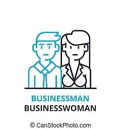 平ら, 概念, アウトライン, 印, 女性実業家, pictogram, , イラスト, ベクトル, 薄くなりなさい, ビジネスマン, アイコン, 線, ロゴ, 線である