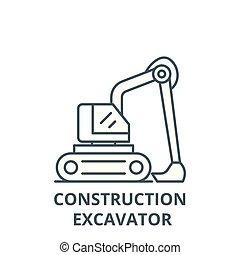 平ら, 概念, アウトライン, 掘削機, 印, イラスト, シンボル, 建設, vector., アイコン, 線