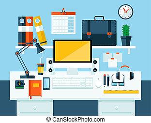 平ら, 概念, イラスト, オフィス, workspace.
