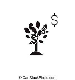 平ら, 概念, イラスト, 木, ドル記号, ベクトル, 黒, icon.
