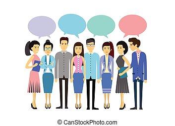 平ら, 概念, グループ, ビジネス, 群集, 人々, コミュニケーション, アジア人, チャット, 社会, 泡, 偶然, ネットワーク