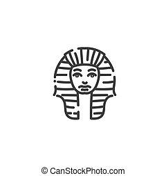 平ら, 概念, シルエット, アウトライン, tutankhamun, エジプト人, ファラオ, エジプト, 有名, アイコン