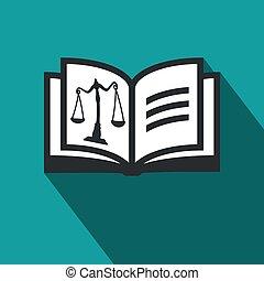 平ら, 概念, スケール, 正義, シンボル, -, ベクトル, デザイン, ロゴ, 法律, 本を 開けなさい