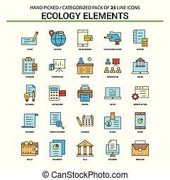 平ら, 概念, セット, ビジネス アイコン, -, エコロジー, デザイン, 線, 要素, アイコン