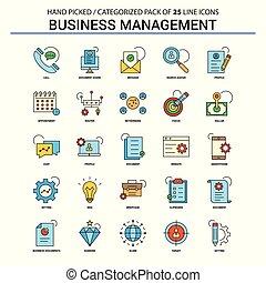 平ら, 概念, セット, ビジネス アイコン, -, 管理, デザイン, 線, アイコン