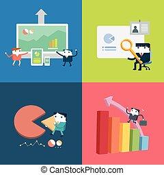 平ら, 概念, セット, ビジネス, ベクトル, デザイン