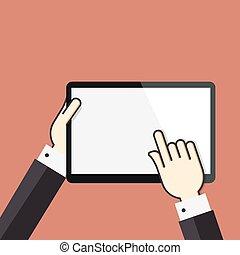 平ら, 概念, タブレット, スクリーン, デジタル, 手