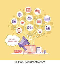 平ら, 概念, デザイン, デジタル, マーケティング