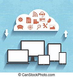 平ら, 概念, デザイン, service., 雲