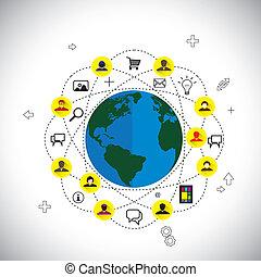 平ら, 概念, ネットワーク, &, 媒体, アイコン, ベクトル, デザイン, 社会, 作られた