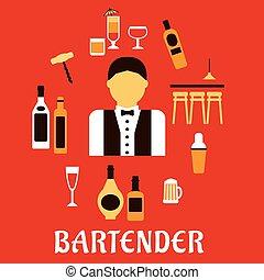平ら, 概念, バーテンダー, 専門職, cocktails.