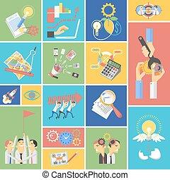 平ら, 概念, ビジネス アイコン, セット, チームワーク