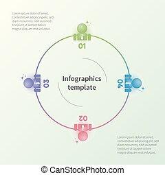 平ら, 概念, ビジネス, カラフルである, pictograms., infographic, テンプレート, ビジネスマン, style.