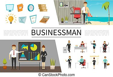 平ら, 概念, ビジネス 人々