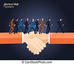 平ら, 概念, ビジネス, 協力, 特徴, イラスト, 最小である