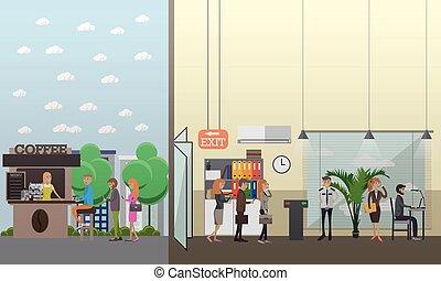 平ら, 概念, ビジネス 実例, 現代, 小道具, ベクトル, style.