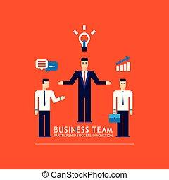 平ら, 概念, ビジネス, 成功した, ビジネスマン, デザイン, チームチームワーク