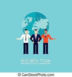 平ら, 概念, ビジネス, 成功した, 共同, 協力, ビジネスマン, デザイン, チームチームワーク