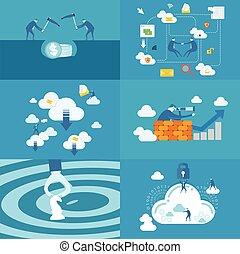 平ら, 概念, ビジネス, 要素, デザイン, アイコン