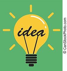 平ら, 概念, ライト, 考え, ベクトル, デザイン, 電球