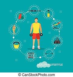 平ら, 概念, ライフスタイル, アイコン, 健康, ジム, イラスト, ベクトル, equipments., フィットネス, デザイン, dumbbells., スポーツ, style., 人