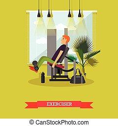 平ら, 概念, ライフスタイル, 仕事, gym., 健康, イラスト, 装置, ベクトル, フィットネス, スポーツ, から, style., 人