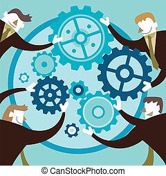 平ら, 概念, 共同, イラスト, 創造的, デザイン