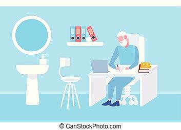 平ら, 概念, 処方せん, オフィス, 医者, ヘルスケア, ラップトップ, 現代, 長さ, 執筆, シニア, 内部, 医院, フルである, 仕事場, 使うこと, 薬, テーブル, モデル, 横