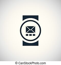 平ら, 概念, 単純である, 腕時計, 要素, デザイン, 痛みなさい, アイコン
