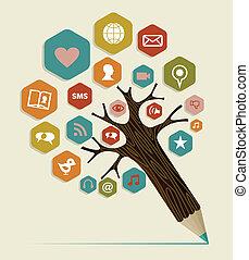 平ら, 概念, 媒体, 木, 社会, アイコン