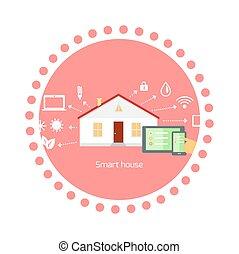 平ら, 概念, 家, デザイン, 痛みなさい, アイコン