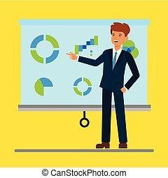 平ら, 概念, 寄付, オフィス, イラスト, セミナー, グラフ, ベクトル, ビジネスマン, training., プレゼンテーション, 漫画