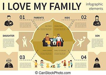平ら, 概念, 愛, illustration., familyinfographic, ベクトル, 私, プレゼンテーション
