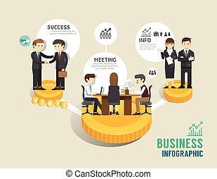 平ら, 概念, 成功した, ビジネス アイコン, ゲーム, イラスト, ステップ, infographic, 板, 線,...