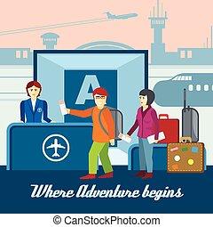 平ら, 概念, 旅行, 空港, ベクトル, 背景, style.