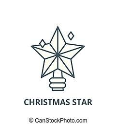 平ら, 概念, 星, アウトライン, 印, イラスト, シンボル, vector., アイコン, 線, クリスマス