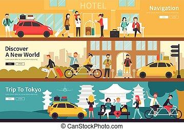 平ら, 概念, 網, 東京, 発見しなさい, 屋外, 新しい, 内部, 世界, ナビゲーション, 旅行