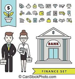平ら, 概念, 金融, 銀行, ビジネスマン