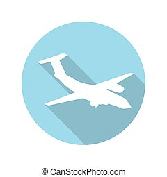 平ら, 概念, 飛行機, イラスト, ベクトル, デザイン, 長い間, shadow.