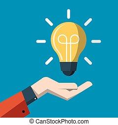 平ら, 概念, cartoon., ライト, エネルギー, 考え, 手, ベクトル, の上, 電球, シンボル。